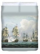 Sir Richard Strachans Action After The Battle Of Trafalgar Duvet Cover by Thomas Whitcombe
