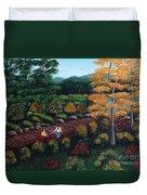 Sister's Autumn Stroll Duvet Cover
