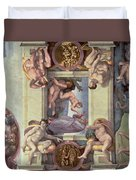 Sistine Chapel Ceiling 1508-12 The Creation Of Eve, 1510 Fresco Post Restoration Duvet Cover