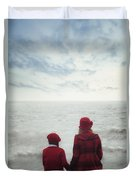 Sitting At The Sea Duvet Cover