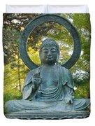 Sitting Bronze Buddha At San Francisco Japanese Garden Duvet Cover