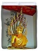 Sitting Buddha In Wat Po In Bangkok-thailand Duvet Cover