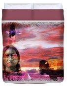 Sitting Bull Duvet Cover by Mal Bray
