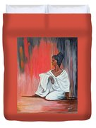 Sitting Lady In White Next To A Red Wall Duvet Cover