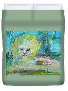 Sitting Lion Oil Portrait Duvet Cover
