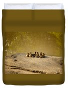 Six Ducklings In A Row Duvet Cover