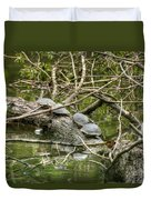 Six Turtle On A Log Duvet Cover