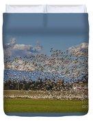 Skagit Snow Geese Liftoff Duvet Cover