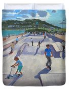 Skateboaders  Teignmouth Duvet Cover by Andrew Macara