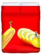 Skateboard Rolling On A Floating Lemon Slice Duvet Cover by Paul Ge
