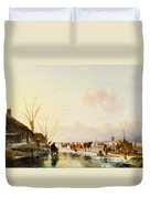 Skaters By A Booth On A Frozen River Duvet Cover