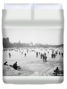 Skating In Central Park Duvet Cover by Anonymous
