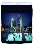 Skating In Nathan Phillips Square, City Duvet Cover by Peter Mintz