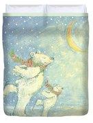 Skating Polar Bears Duvet Cover