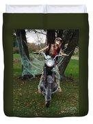 Skeleton Biker On Motorcycle  Duvet Cover