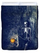 Skeleton With Jack O Lantern Duvet Cover