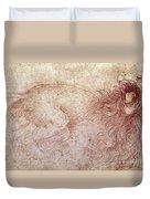 Sketch Of A Roaring Lion Duvet Cover by Leonardo Da Vinci