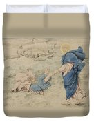 Sketch Of Christ Walking On Water Duvet Cover by Richard Dadd