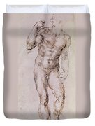 Sketch Of David With His Sling Duvet Cover by Michelangelo Buonarroti