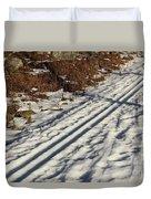 Ski Track In Sunlight In Spring Duvet Cover