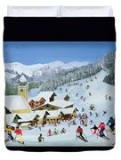 Ski Whizzz Duvet Cover by Judy Joel