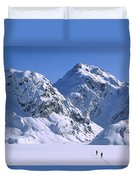 Skiers Cross Frozen Lake Harris Duvet Cover