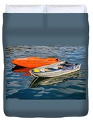 Skiffs At The Harbour Duvet Cover
