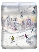 Skiing In The Dolomites In Italy 01 Duvet Cover