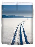Skiing Person On Frozen Lake Duvet Cover