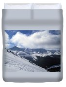 Skiing With A View Duvet Cover by Fiona Kennard