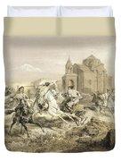 Skirmish Of Persians And Kurds Duvet Cover