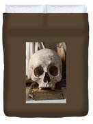 Skull And Old Book Duvet Cover