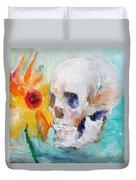 Skull And Sunflower Duvet Cover