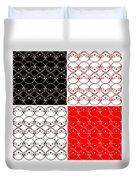 Skull Black Red White Pattern Background Duvet Cover