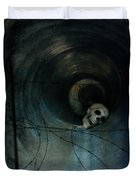 Skull In Drainpipe Duvet Cover
