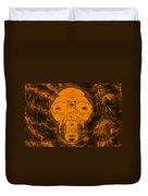 Skull In Negative Orange Duvet Cover