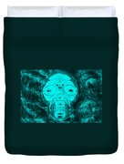 Skull In Negative Turquois Duvet Cover