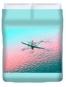 Skulling Boat At Sunset Duvet Cover