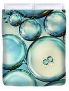 Sky Blue Bubble Abstract Duvet Cover by Sharon Johnstone