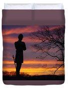Sky Fire - 124th Ny Infantry Orange Blossoms-1a Sickles Ave Devils Den Sunset Autumn Gettysburg Duvet Cover by Michael Mazaika