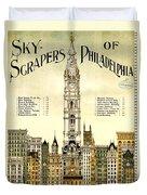 Sky Scrapers Of Philadelphia 1896 Duvet Cover