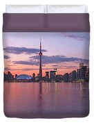 Skyline At Dusk From Centre Island Duvet Cover