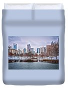 Skyline Of Uptown Charlotte North Carolina At Night Duvet Cover