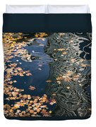 Skyscrapers' Reflections And Fallen Autumn Leaves Duvet Cover