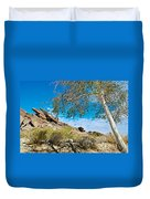 Slanted Rocks And Sycamore Tree  In Andreas Canyon In Indian Canyons-ca Duvet Cover