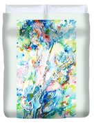 Slash Playing Live - Watercolor Portrait Duvet Cover