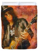 Slash Shredding On Guitar Duvet Cover