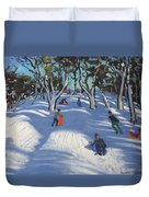 Sledging At Ladmanlow Duvet Cover by Andrew Macara