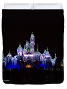 Sleeping Beauties Castle At Christmas Duvet Cover