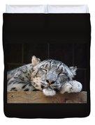Sleeping Snow Leopard Duvet Cover